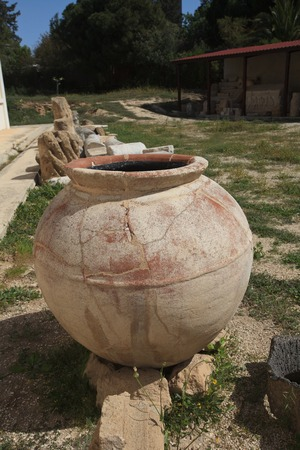 greek pot: Ancient Greek pot found during excavations in Paphos, Cyprus. vertical