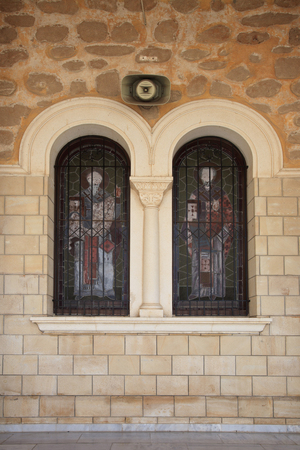 stained glass windows: Ancient stained glass in the windows of the Orthodox Church. close-up