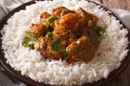 Madras: Indian cuisine: beef madras with basmati rice close-up on a plate. horizontal