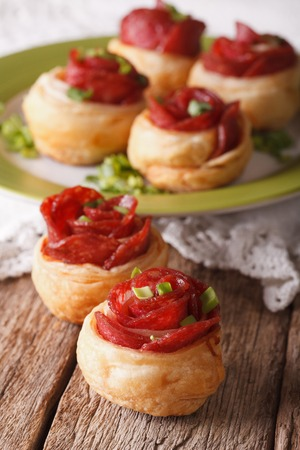 mini pizza: Mini pizza with salami and cheese close-up on the table. vertical Stock Photo