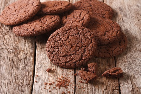 sweet sugar snap: Chocolate cookies with cracks close-up on the table. horizontal Stock Photo