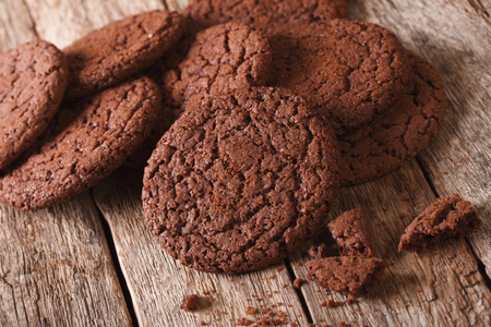 sweet sugar snap: Delicious chocolate cookies close-up on the table. horizontal