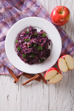 red braised: braised red cabbage with ingredients on the table. vertical view from above Stock Photo