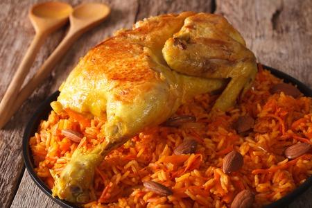 uzbek: Traditional Arabic food: kabsa with chicken closeup on a plate. Horizontal