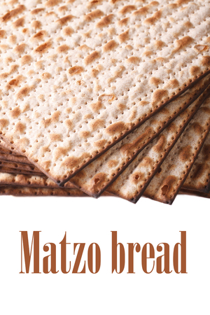 matzoh: Pile of Jewish matzo Flatbread isolated on white background, vertical Stock Photo