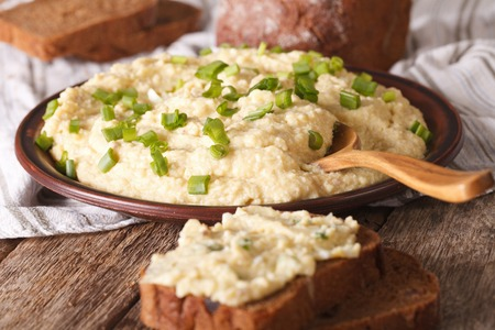 jewish cuisine: Jewish cuisine: pate of herring - forshmak close-up on a plate. Horizontal
