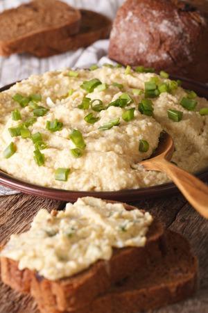 jewish cuisine: Jewish cuisine: pate of herring - forshmak close-up on a plate. vertical
