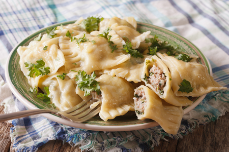 swabian: German ravioli Maultaschen with spinach and meat close up on a plate. horizontal Stock Photo