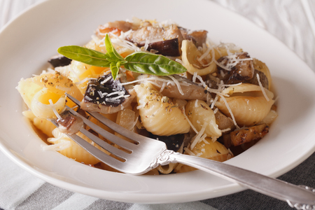 Pasta Conchiglie with wild mushrooms and parmesan close-up on a plate.