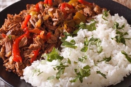 Cuban cuisine: ropa vieja meat with rice garnish on a plate macro. horizontal