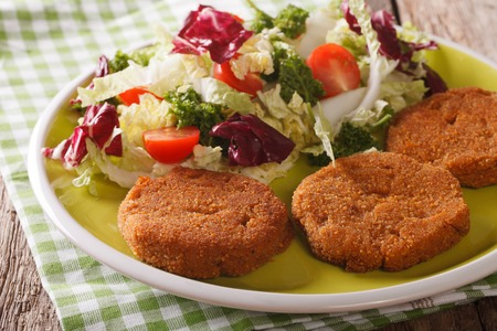 Dietary carrot cutlets and salad of chicory, cabbage and tomatoes close-up on a plate. horizontal
