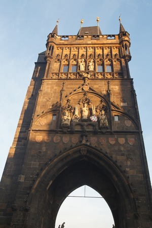 Dawn. Old Town bridge tower at one end of Charles bridge, Vltava river, Prague.