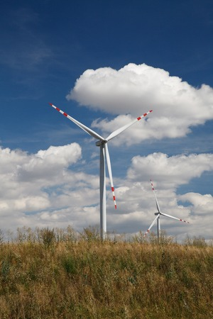 Wind turbines generating electricity in the field