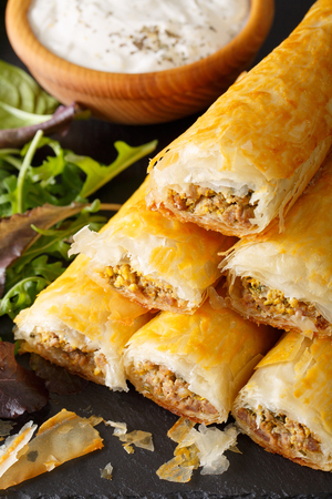 filo pastry: Filo rolls with meat, eggs and greens close-up and yogurt on the table. vertical Stock Photo