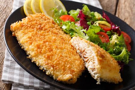 Gebakken visfilet in paneren en verse groente salade close-up op een plaat. horizontaal Stockfoto - 75267421