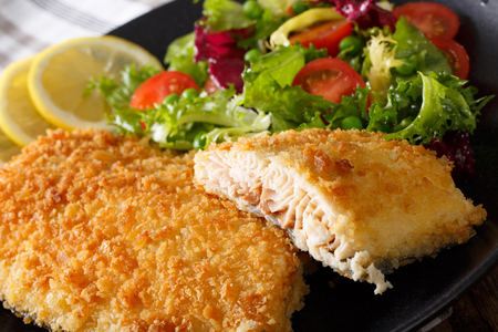 Fish fillet of Arctic char in breadcrumbs and fresh salad on a plate macro. horizontal