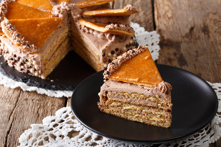 Homemade slice of Hungarian Dobosh cake with caramel close-up on a plate. horizontal