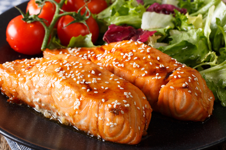 fillet steak: Glazed salmon fillet with sesame close-up on a plate. horizontal Stock Photo