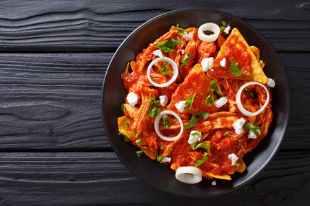 Homemade chilaquiles with chicken and tomato salsa closeup on a plate on the table. Horizontal view from above Stockfoto