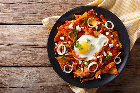 Mexican nachos with tomato salsa, chicken and egg close-up on a plate. Horizontal view from above