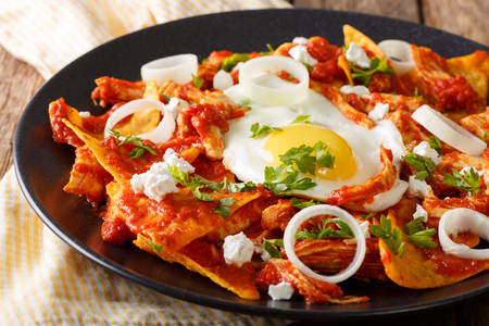 Tortillas with tomato salsa, chicken and egg close-up on a plate. horizontal