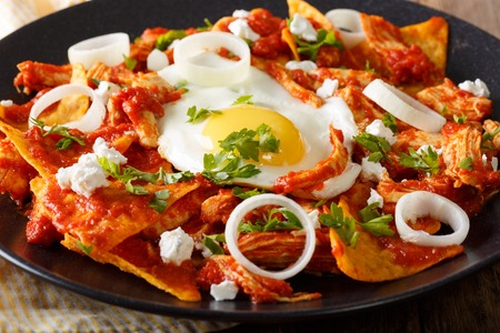 Mexican breakfast: chilaquiles with egg and chicken close-up on a plate. horizontal
