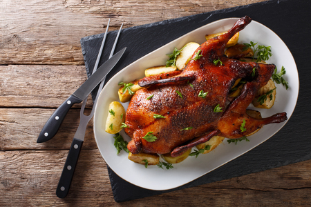 Beautiful food: baked whole duck with apples close-up on a platter on the table. Horizontal view from above