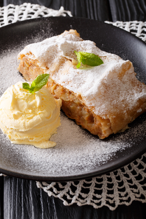 Freshly baked apple strudel with vanilla ice cream and mint closeup on a plate. vertical