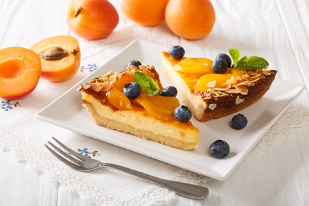 Apricot cheesecake with blueberry close-up on a plate. Horizontal