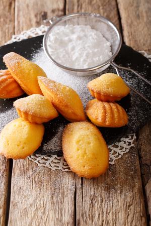 오래 된 테이블에 쉘 - 마들렌 근접의 모양에 프랑스어 쿠키. 수직선 스톡 콘텐츠