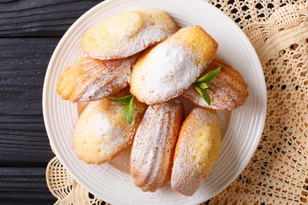 Het koekje van Madeleine met poedersuiker en muntclose-up op een plaat op de lijst. horizontale weergave van bovenaf