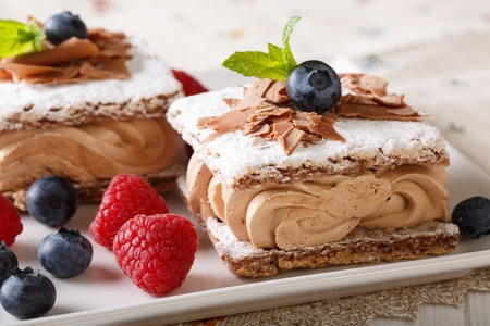 Millefeuille chocolate, decorated with berries and mint close-up on a plate. horizontal