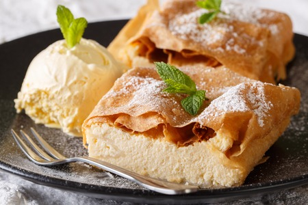 Beautiful strudel with cottage cheese, with vanilla ice cream close-up on a plate on a table. horizontal