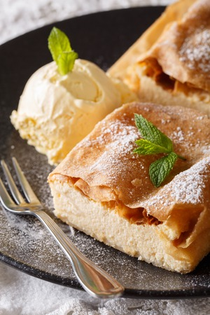 strudel: Healthy strudel with cottage cheese, and vanilla ice cream close-up on a plate. vertical  Stock Photo