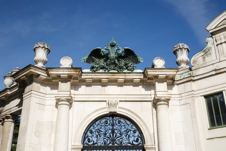 Entrance to Burgatten Park in Vienna. The double-headed eagle is a symbol of royal power. Austria