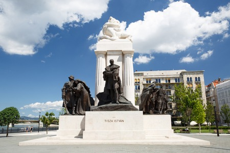 The Tisza Istvan Monument near the Hungarian Parliament in Budapest, Hungary Stock Photo
