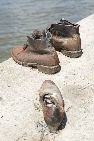 jewish: Shoes Danube Promenade. Monument to the victims of the Holocaust. Budapest. Hungary