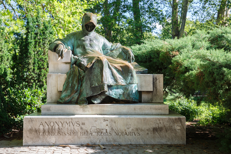 Monument of Anonymous (notary and chronicler of a Hungarian King), Varosliget Park. Budapest Hungary