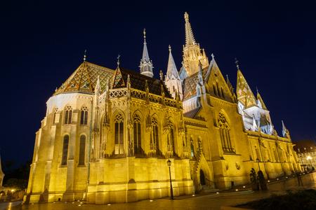 Night view of the Matthias Church in Budapest Hungary