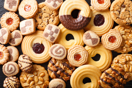 Beautiful cookies assorted close-up. background horizontal view from above Stock Photo