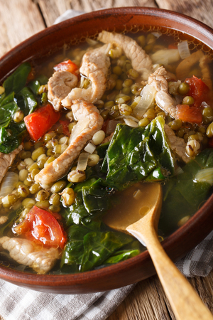 Filipino Mungo Guisado (Mung Bean Soup) close-up in a bowl on the table. vertical Stock Photo