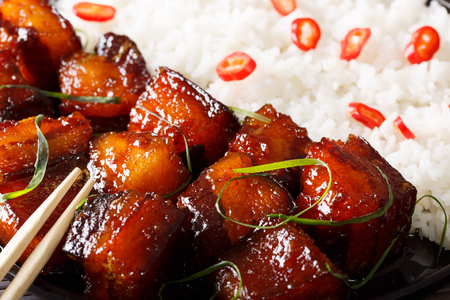 Vietnamese food: caramelized pork belly with rice macro. horizontal background