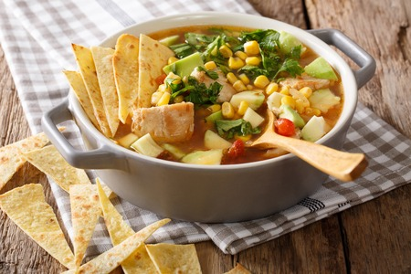 テーブルの上に鶏肉と野菜の作りたてのトルティーヤスープ。水平