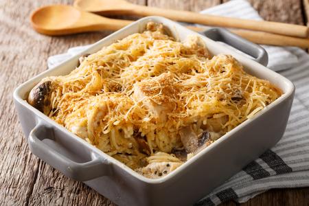 スパゲッティ、マッシュルーム、チーズ、チキンクローズアップ、テーブルの上に焼くためのプレートに tetrazzini アメリカン。水平