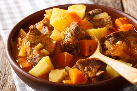 Spicy stew estofado with beef and vegetables in a bowl close-up on the table. horizontal