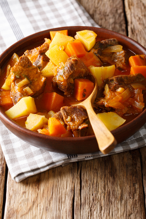 delicious stew estofado with beef and vegetables in a bowl close-up. vertical