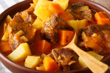 Mexican thick estofado soup with beef close-up in a bowl. horizontal