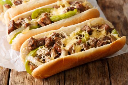 Philly sandwich au fromage sandwich servi sur parchemin gros plan de papier sur la table. horizontal Banque d'images - 91711377