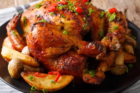 Hot grilled chicken with spicy seasonings close-up on a plate. horizontal  Stock Photo