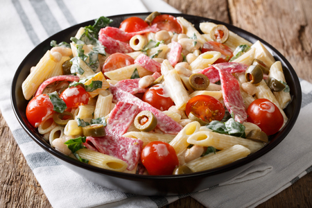 Italian penne pasta with sausage, cheese, and vegetables close-up on a plate. horizontal